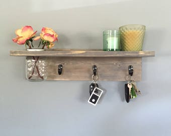 Key holder, Key Hook,Wall Shelf, wall Coat Rack with Shelf, vase, Wall decor, coat hanger, House Warming Gift, Rustic, for her, robe hook, M