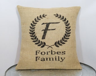 Personalized with your family name letter wreath/crest, monogrammed rustic country burlap pillow cover/sham - Custom sizes/color options