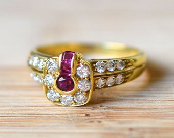1950s Ruby Ring With Diamonds - Ruby and Diamond Ring - Vintage Ruby Ring - 1950s Diamond Ring - Ruby Engagement Ring - 18K Gold Ring