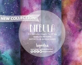 NEBULA Seamless Digital Paper, indigo, ultramarine, blue Watercolor, Backgrounds, blog, for wallart, invitations, quotes, prints