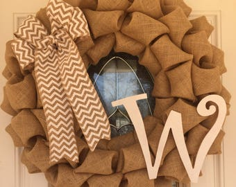 CPM Initial Letter W Burlap Wreath Natural and White