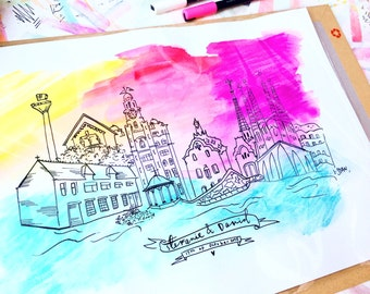 Watercolour City line drawings