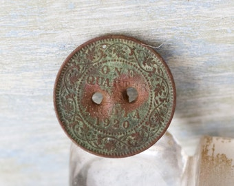 Rusty Button - 1920 India One Quarter Coin - Re Purposed