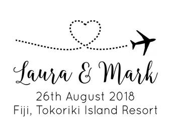 "Flying Airplane Save The Date Stamp, Wedding Destination Invitation, Wedding Abroad, Love Heart Wedding, Wedding Invite, 3""x2"" (cstd95)"