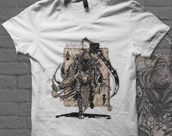 The Ace Of Spades Warrior, acheron, grim reaper, skulls, tatto style art, anime t-shirt
