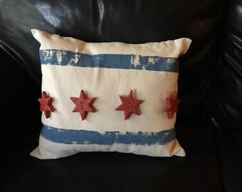 Chicago Flag Pillow, Pillow, City of Chicago, Second City, Flag Pillow, Pillow Art, Chicago, Chocago Flag, Decorative Pillows, Unique Pillow