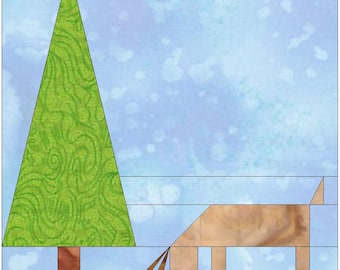 Deer and a Tree 10 Inch Paper Piece Foundation Quilting Block Pattern