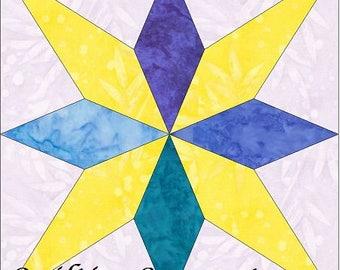 EQ Star 4 - 10 Inch Paper Piece Foundation Quilting Block Pattern PDF