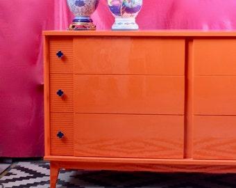 Mid Century Dresser Painted Glossy Orange - On hold for Melanie