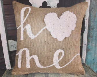 Home with Rosettes 12' x 12' Burlap Pillow