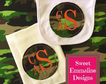 Embroidered Raggy Edge Camo Applique Monogrammed Baby Bib and Burp Cloth Set