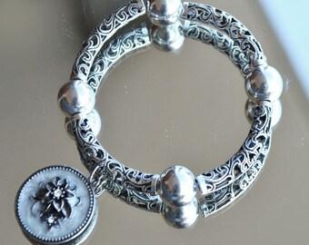 Bracelet silver ethnic - bead ball silver-medal enameled