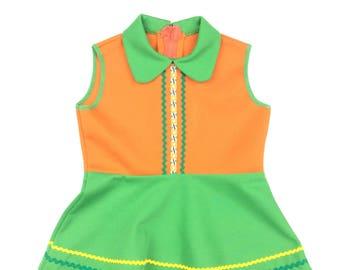 Vintage orange green sleeveless collared dress age 18-24 months 1970s