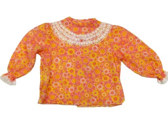 Vintage deadstock flower power pink orange frill detail baby girl top 12-18 months