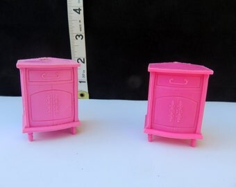 Vintage retro Bedroom Night Stand Set Nightstand Hot Pink Set Dollhouse Doll House Dollhouse Miniature Furniture