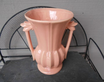 1948 Art Deco Mc COY Pottery 9 and a quarter in x 8 in Soft Pink  2 handled vase VG vintage condition like new