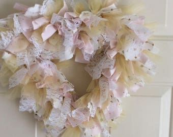 Pink & Gold Fabric Heart Wreath