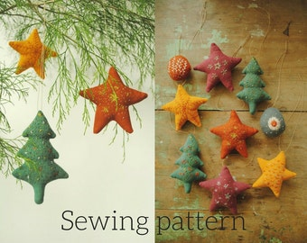Fabric ornament sewing pattern /Christmas hanging ornaments/ PDF tutorial by Willowynn