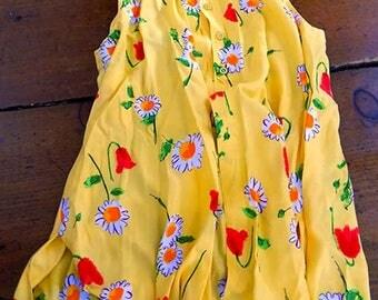 Women's vintage summer sleeveless daisy tunic top