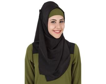 MyBatua Black Crepe Islamic Stylish Head Wear Hijab, Square & Rectangular, Fashion Scarves, Muslim, Women's Clothes HJ-083