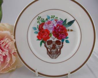 Floral Skull Plate - skulls, upcycled vintage plate, customised plate, flower skull, skull china, vintage china, day of the dead