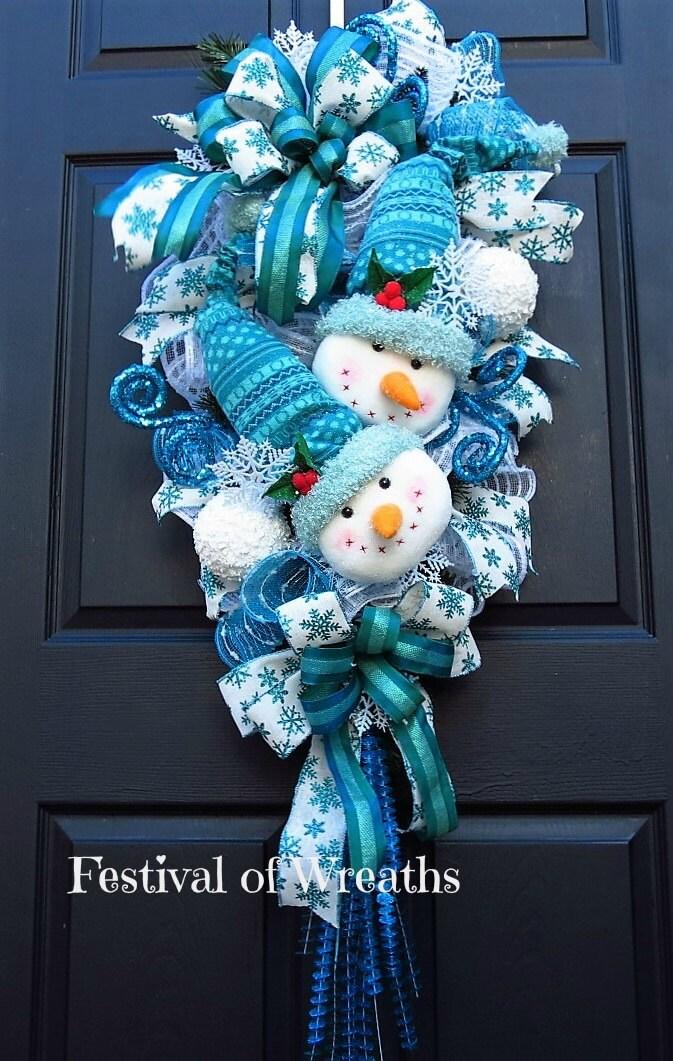 Christmas wreath swag christmas front door wreath snowman for Front door xmas wreaths