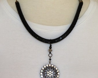Vintage Black Pendant Necklace with Crystal Clasp