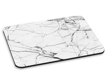 Marble White With Black Veined PC Computer Mouse Mat Pad