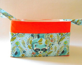 Raccoon Storage Caddy Cool Blues with Orange, Make up Organiser, Sewing Basket, Diaper Caddy