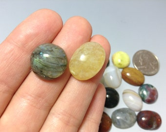 Cabochons mix 14 pieces- 15 to 19mm