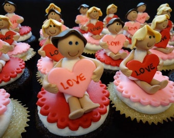 4 Personalized Little people valentines love hearts cupcake cake toppers