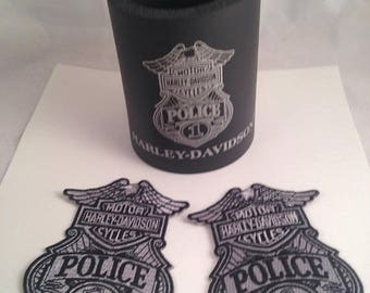 Now On Sale Harley Davidson 1 Police Patches Set of Two Plus Can Cozy Motorcycle