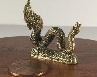Miniature Figurine Brass Thai Laos Dragon Metalwork Art #4