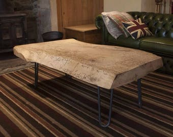 Large sycamore wood slab coffee table