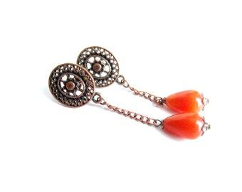 Long gemstone earrings, jade earrings, orange stone earrings, copper earrings, jade dangle earrings, jade copper earrings, italian jewelry