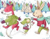 Snow Fight Christmas Card - Illustration and Design