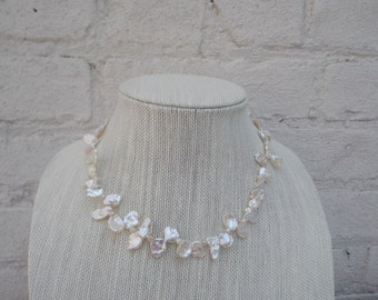 Natural White Baroque Pearl Necklace - Bride Perfect, Modern