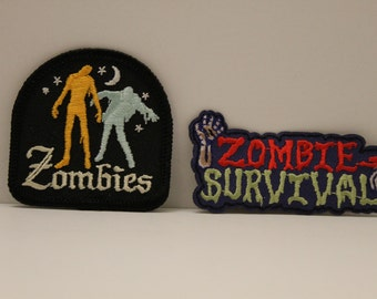 Zombie Survival Patch Pack (2) - brains zombie run fun
