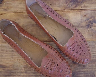 Vintage Braided Leather Flats, Brown Woven Leather Shoes, Made in Mexico, Size 7