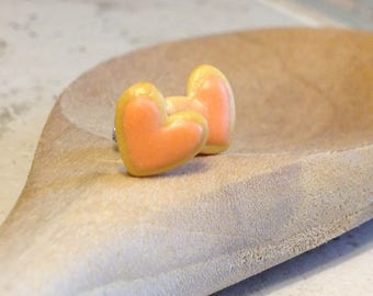 Mini Frosted Sugar Cookie Hearts Stud Earrings