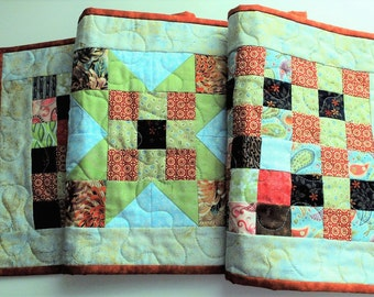 Patchwork Quilted table runner, autumn tonings,  table decor, handmade runner, table topper