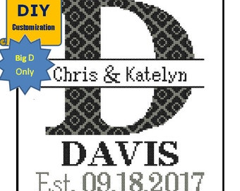 Instant Download DIY customizable Cross Stitch Pattern Monogram D Initial Family Name Wedding Gift House Warming Wedding