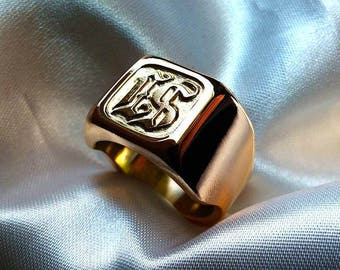 Mens signet ring with initials