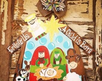 Christmas Door Hanger - Manger Door Hanger - Christmas Decor - Manger - Christmas Wreath - Christmas Decorations - Door Decor - Holiday -