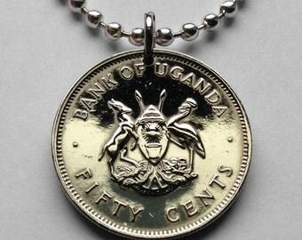 Uganda 50 cents coin pendant Ugandan Kob Crested Crane bird spears necklace Kampala Baganda antelope Africa Luganda Kira Wakiso Town n001835