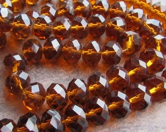 20 Large Faceted Crystal Glass Rondelle Beads Spacers Topaz Brown