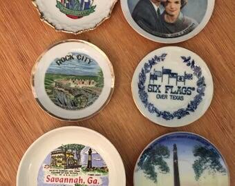 Tiny Souvenir State Plates, Rock City Tenn., NYC, Six Flags, Houston, Savannh, and JFK