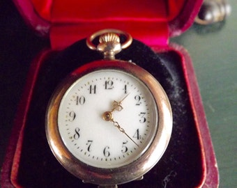 Antique Ladies Pocket Watch With Crescent Moon And Star Made In Germany Gold Over Silver 1903
