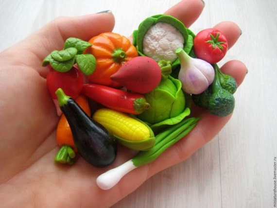 Miniature vegetables from polymer clay