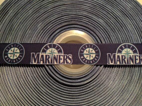"SEATTLE MARINERS BASEBALL 7/8"" Grosgrain Hair Bow Craft Ribbon 783158"